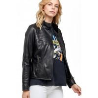 Sherill Modern Black Sheepskin Classic Biker Jacket