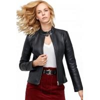 Sella Black Leather Zipper Sheepskin Jacket