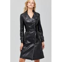 Anastasia Black Leather Women's Trench Coat