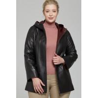 Sophia Women's Black Hooded Leather Jacket Plus