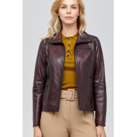 Shania Classic Brown Leather Jacket