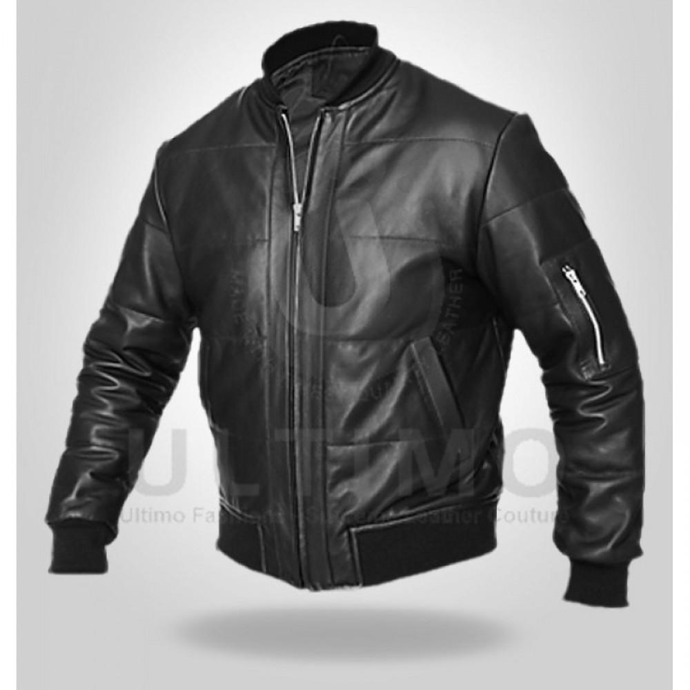 Men's Black Biker Genuine Leather Jacket