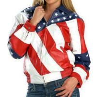 American USA banner Leather Jacket For Women