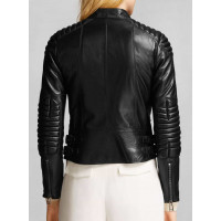 Asymmetrical Zipped Padded Womens Motorcycle Leather Jacket For Sale