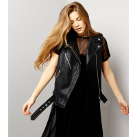 Black Leather Look Sleeveless Biker Jacket For Sale