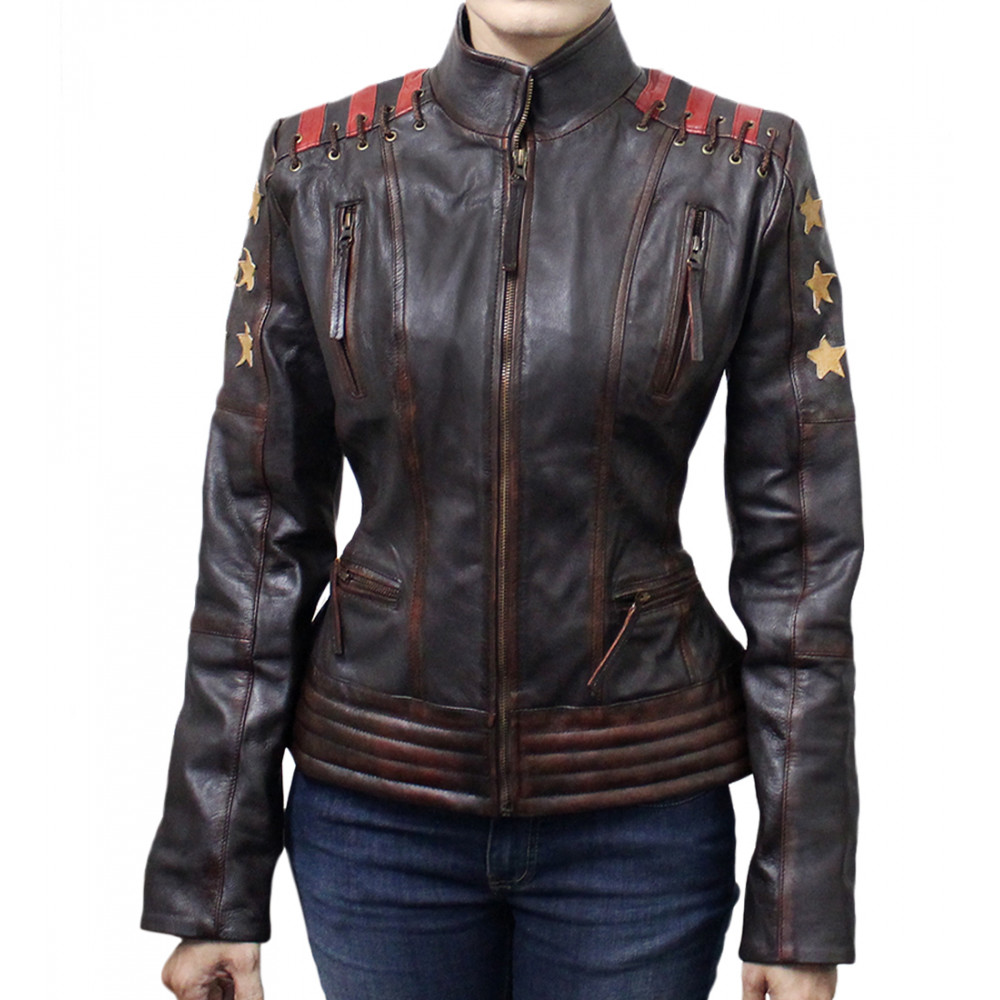 Cafe Racer Vintage Women's Ox Blood Waxed Brown Leather Jacket