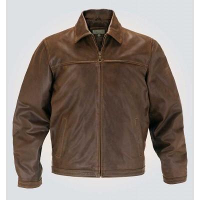 Antique Brown Bomber Leather Jacket For Mens