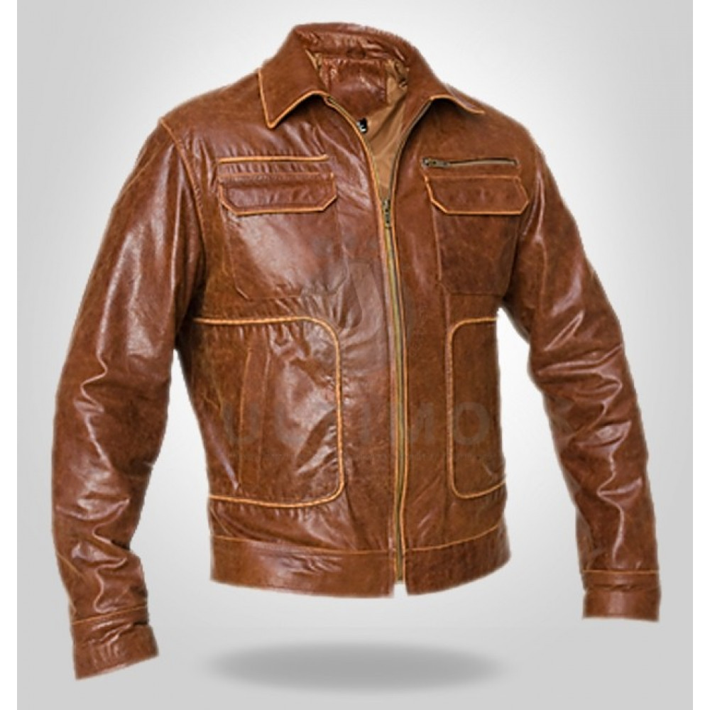 Brown Boston Bomber High Quality Real Leather Jacket