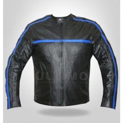 GLAZED BLACK MOTORCYCLE LEATHER JACKET