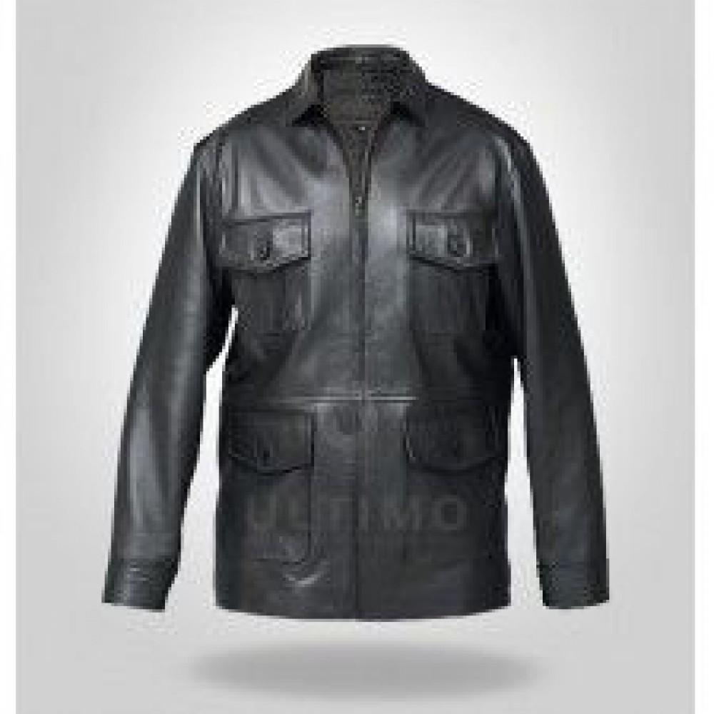 Black Scott Martin Classic Bomber Leather Jacket