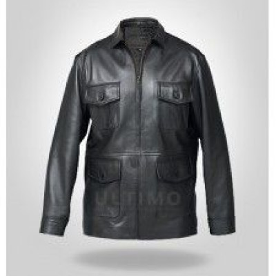 Black Scott Martin Classic Bomber Leather Jacket