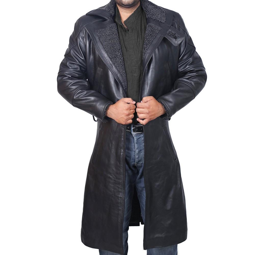 Blade Runner Black Leather Jacket Ryan Gosling Fur Coat