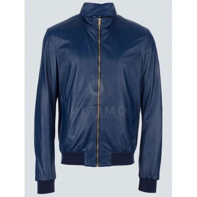 Blue Ryan Reynolds Leather Jacket For Mens