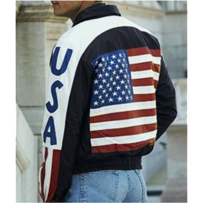 Bomber USA Flag Leather Jacket