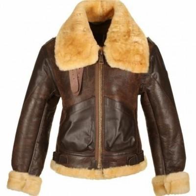 Women's Brown Fur Collar Leather Jacket