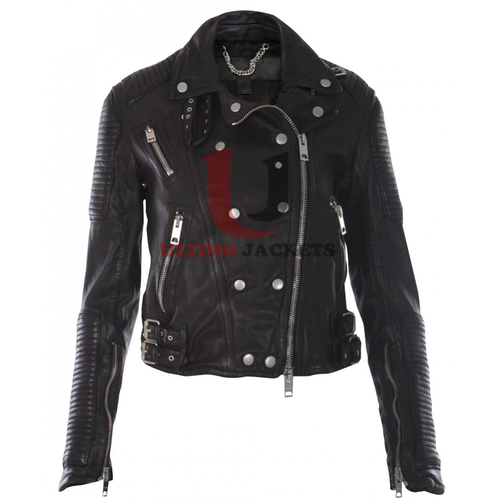 Ali Larter Prorsum Quilted Black Biker body Fit Leather Jacket