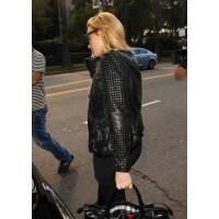 Designers Lindsay Lohan Studded Black Leather Jacket