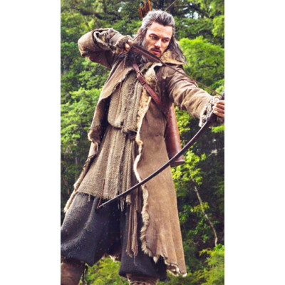 Hobbit Movie Brown Leather Coat worn by Luke Evans