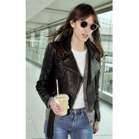Alexa Chung Slim fit Black Biker Stylish Leather Jacket