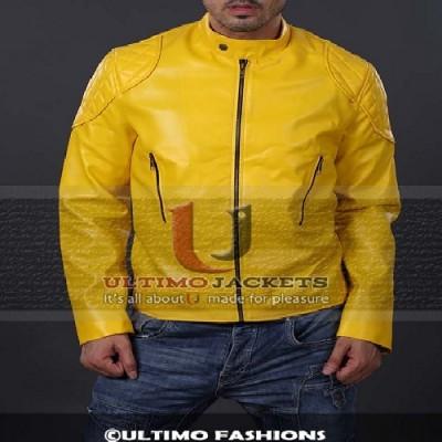 Douglas Yellow Biker Leather Jacket