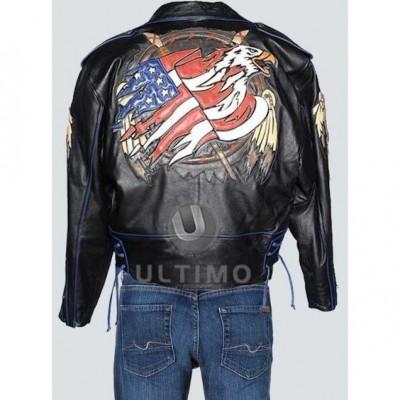 Flag leather Jacket Design on Back