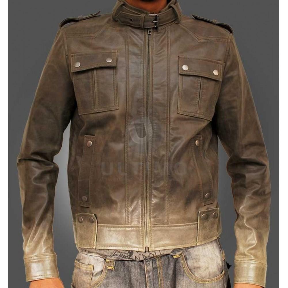 Green Mens Matellic Leather Jacket