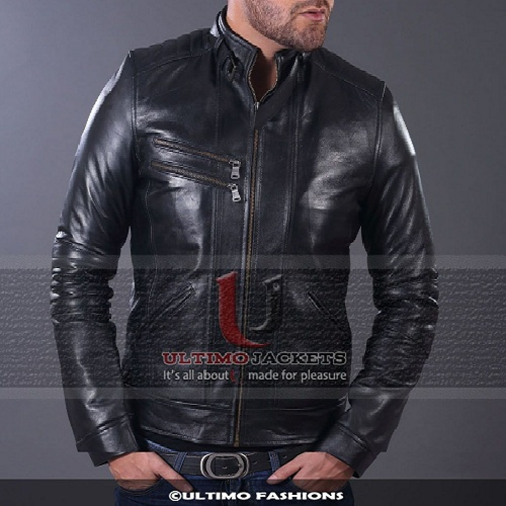 Highway Classic Black Bomber Men's Real Leather Jacket