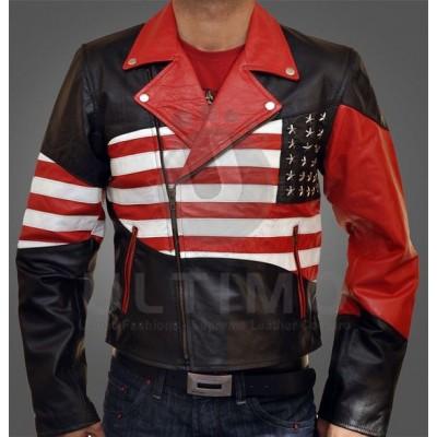 Men USA American Flag Leather Jacket
