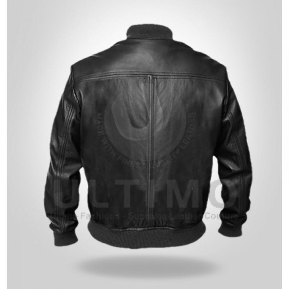 Men's Stylish Black Bomber Genuine Leather Jacket