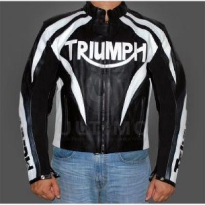 MOTORCYCLE TRIUMPH BLACK LEATHER JACKET