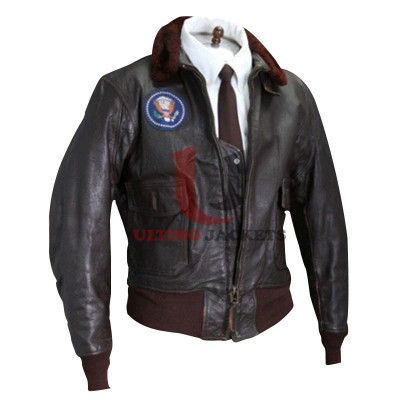 Movie Air Force Once Black Bomber Leather Jacket