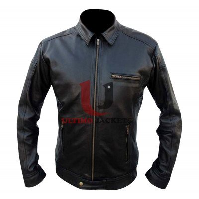 Need For Speed Aaron Paul as Tobey Marshall Black Leather Jacket
