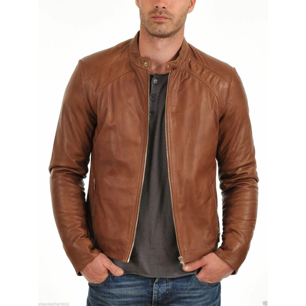 Nero Bomber Slim Fit Genuine Stylish Leather Jacket Brown Color