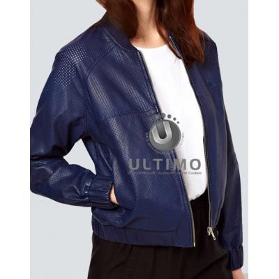Raglan Sleeves Women Blue Leather Jacket