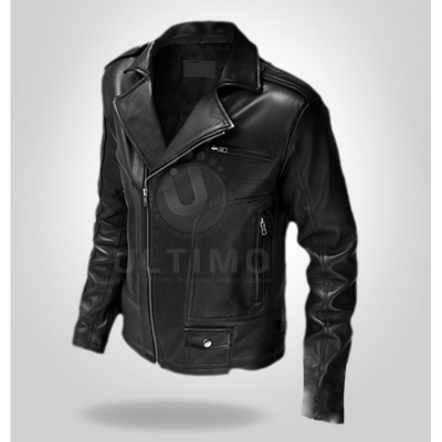 Rocker Slim-Fit Black Leather Jacket