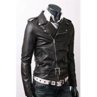 Belted Black Slim Fit High Quality Leather Jacket