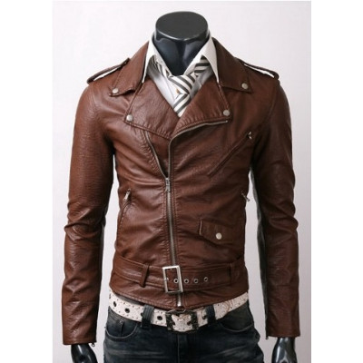 Men's Brown Stylish Slim-Fit High Quality Leather Jacket