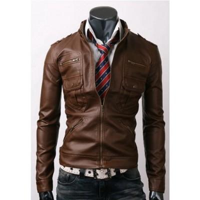Zip Pocket Slim-fit Leather Jacket