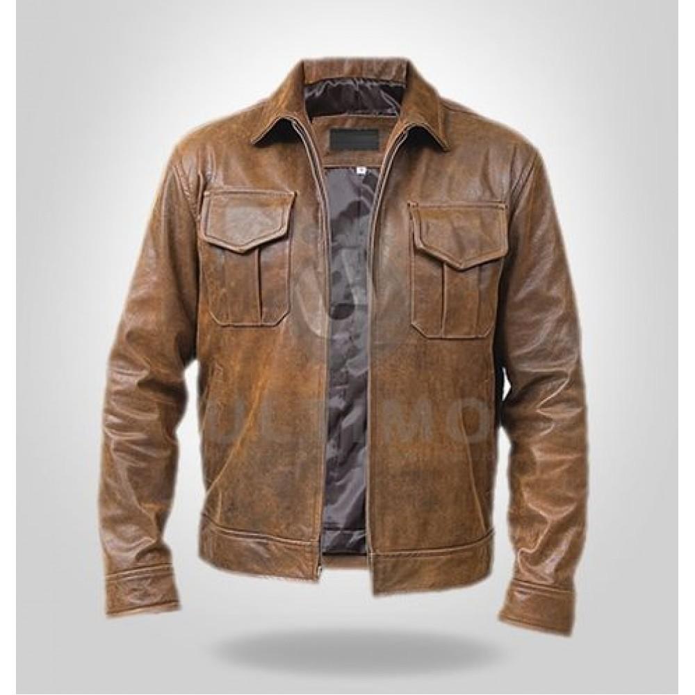 Stylish Copper Rub-off Leather Jacket