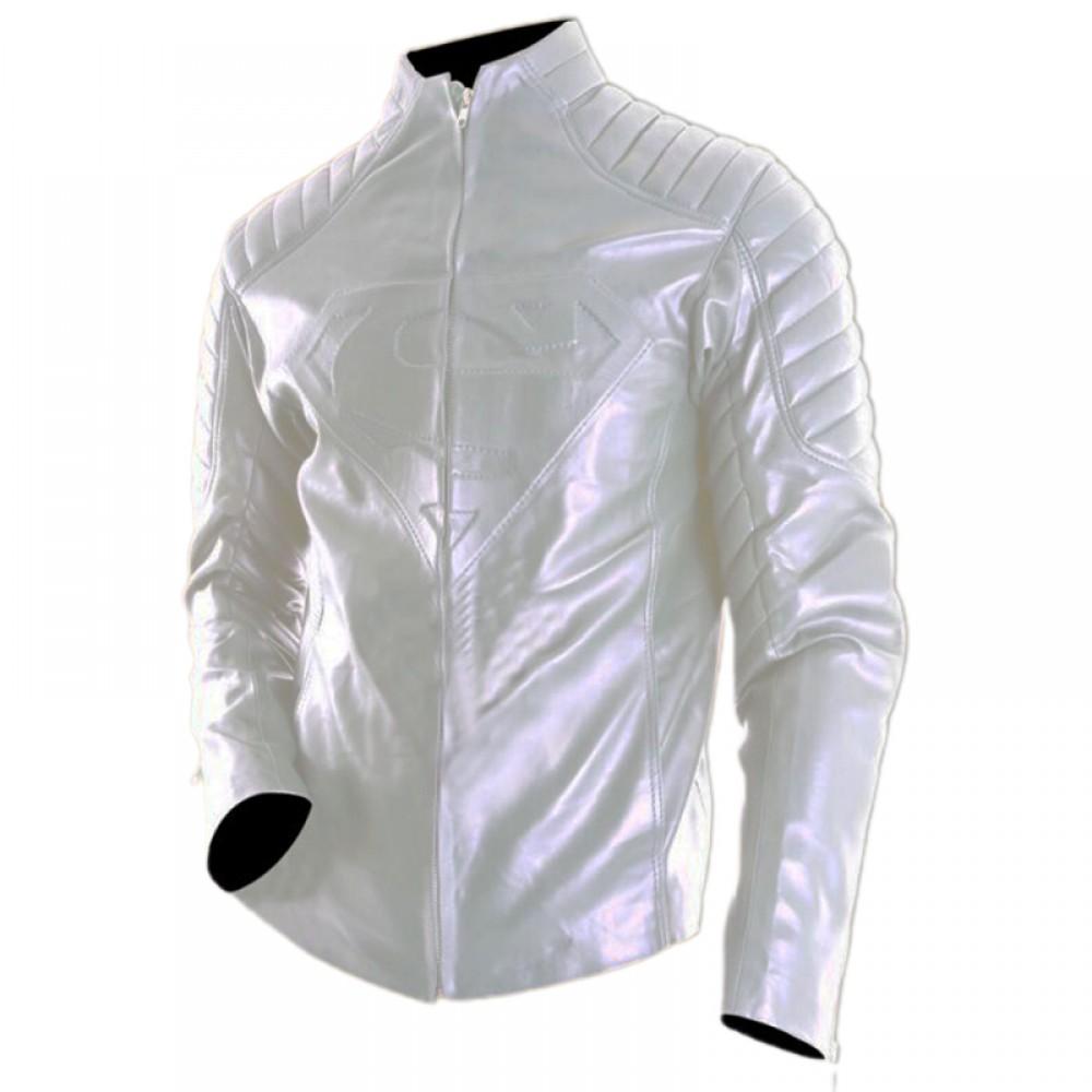 Superman Smallville White Leather Jacket