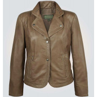 Alice Clay Womens Brown Leather Coat