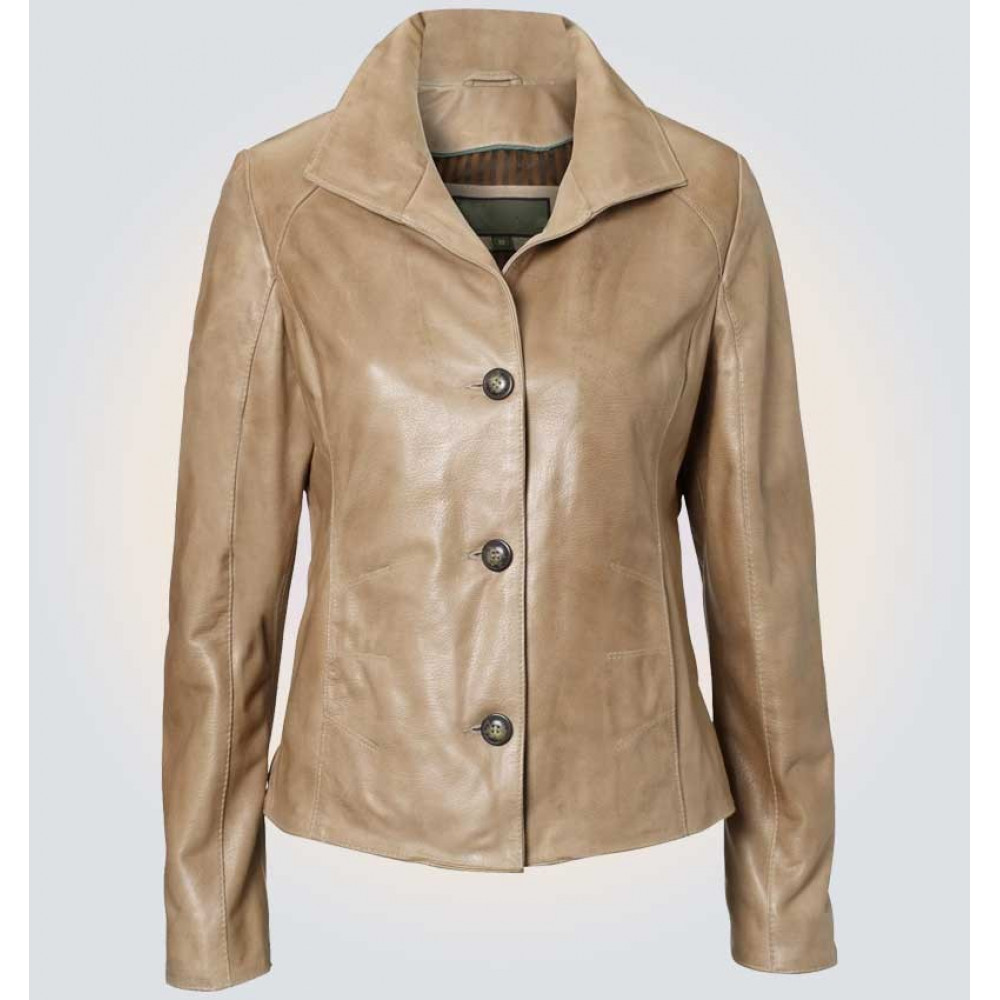 Ruby Light Brown Leather Blazer
