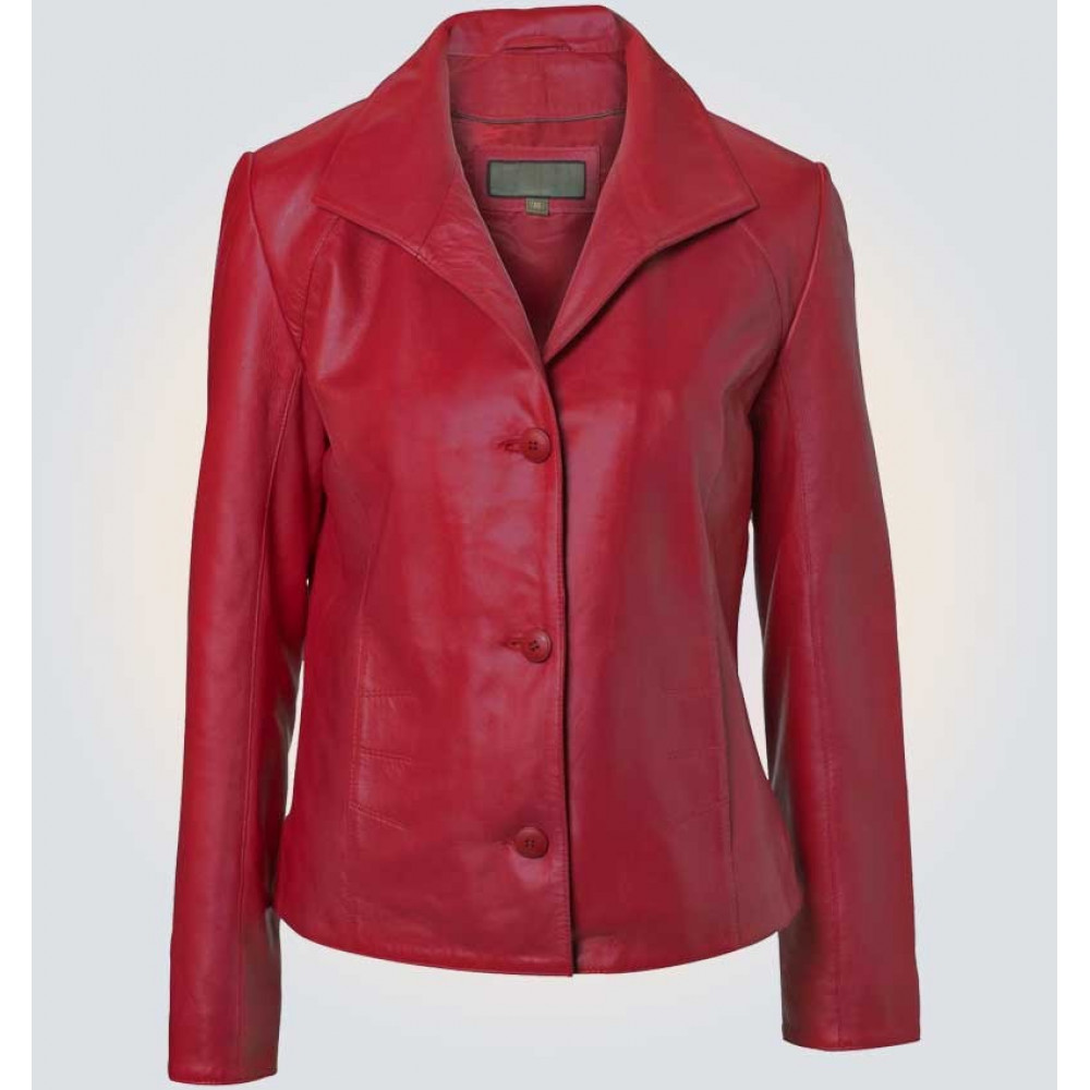 Ruby Leather Blazer Red Color