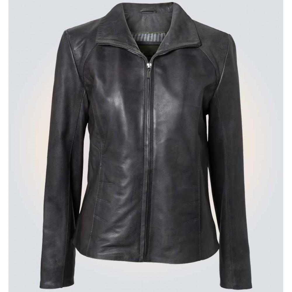 Grey Women Slim Fit Leather Jacket