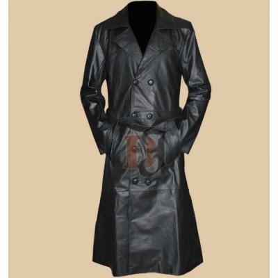 Worn Slayer Spike Trench Leather Coat | Jacket
