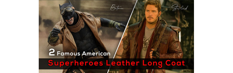 2 Famous American Superheroes Leather Long Coat