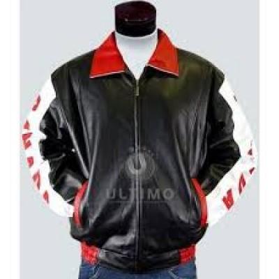 Canadian Flag Stylish Black Leather Jacket