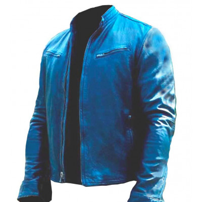 Fast And Furious 7 Vin Diesel Navy Blue Leather Jacket