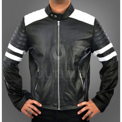 Black and White FC Mayhem Leather Jacket
