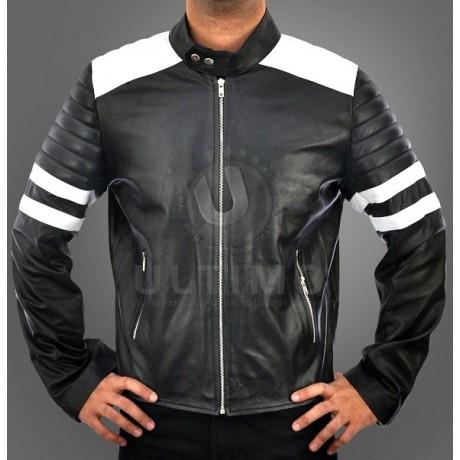 Black and White FC Mayhem Leather Jacket